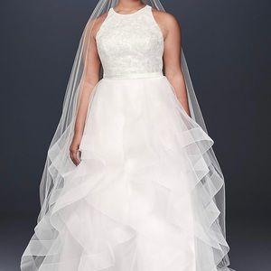 Floral Sequin Tiered Plus Size Wedding Gown Halter